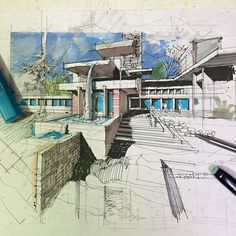 Nice example of architectural drawing aquarell croquis arqui Croquis Architecture, Architecture Sketchbook, Architecture Panel, Architecture Graphics, Architecture Portfolio, Concept Architecture, Architecture Details, Landscape Architecture, Sketches Arquitectura