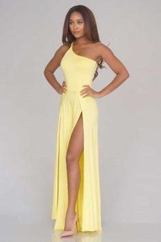 Aphrodite One Shoulder Maxi Dress - Lemon