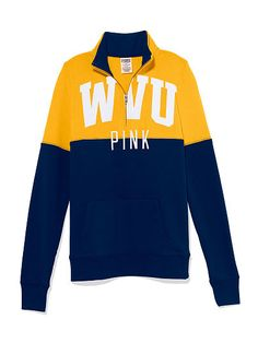 West Virginia University Colorblock Half Zip Pullover PINK