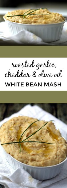 A great healthy alternative to mashed potatoes! I couldn't believe how creamy and comforting white bean mash can be. These are packed with roasted garlic and cheddar cheese for maximum flavor. #vegetarian #thanksgiving #cheese #comfortfood