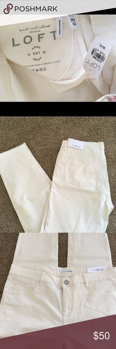 LOFT skinny pants Cream white color. Modern skinny cut. Perfect for cooler climates. Never worn. LOFT Pants Skinny