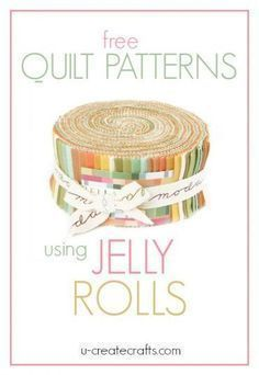What is a Jelly Roll in quilting terms? A Jelly Roll has forty x strips of fabric. These forty strips are layered, rolled up tight, and tied with a bow. Jelly Rolls are wonderful and save so m Strip Quilts, Easy Quilts, Quilt Blocks, Layer Cake Quilt Patterns, Layer Cake Quilts, Layer Cakes, Jelly Roll Quilt Patterns, Quilt Patterns Free, Free Pattern