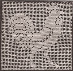 Vintage Crochet Mary Fitch Filet Rooster Motif Pattern FiletRooster