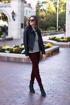 oxblood pants + stripes + leather jacket  What I Wore | A Little Edge, Jessica Quirk, Sample Gates, whatiwore.tumblr.com