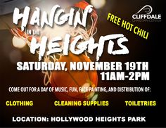 ACCEPTING DONATIONS!  We'll be Hangin' in the Heights THIS Saturday for an Outreach Community Event from 11am-2pm at Hollywood Heights Park! There will be Free Hot Chili, face painting, music and we will be handing out clothing, cleaning supplies, and hygiene items. You can drop donations off at the office from Tues-Friday 9am-3pm this week or call 910-864-4911.  #CliffdaleAlive #WhereLoveWorks #CliffdaleOutreach