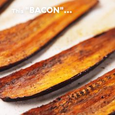 This vegetarian eggplant bacon is perfect when you need something savory for your sandwich. Get the recipe at .This vegetarian eggplant bacon is perfect when you need something savory for your sandwich. Get the recipe at . Bacon Recipes, Veggie Recipes, Whole Food Recipes, Cooking Recipes, Cooking Games, Lettuce Wrap Recipes, Cooking Dishes, Chickpea Recipes, Vegetarian Recipes