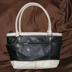 Tignanello Black & White Pebbled Leather Tote, Tignanello Leather Handbag