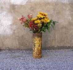 dandelion yellow, reclaimed scrap industrial vase by paula art