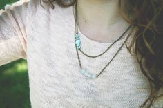 Turquoise Beaded Antiqued Brass Finish Necklace $19.00  loomstruck.etsy.com <3 Pin Now, Look Later <3