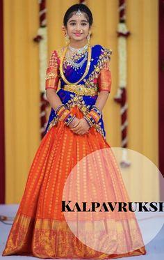 Kanchipattu half sarees by kalpavruksh Half Saree Lehenga, Kids Lehenga, Lehenga Style, Lehnga Dress, Baby Lehenga, Half Saree Designs, Lehenga Designs, Saree Blouse Designs, Choli Designs