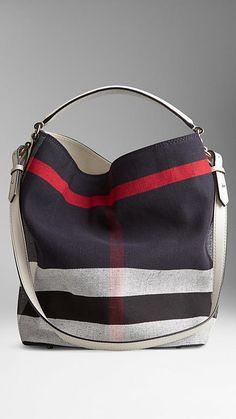Mittelgroße Hobo Tasche Mit Canvas Check Muster | Burberry
