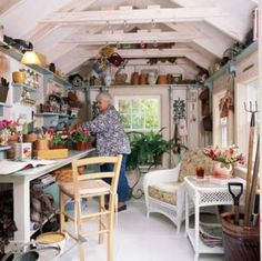 20 inspiring SHE sheds   Living the Country Life-Love the shelves running along the rafters