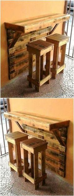 Pallet Projects: Look at this pallet project. A wall mounted bar an Pallet Projects: Look at this pallet project. A wall mounted bar an The post Pallet Projects: Look at this pallet project. A wall mounted bar an appeared first on Pallet ideas. Wooden Pallet Projects, Wooden Pallets, Pallet Wood, Pallet Signs, Pallet Benches, Pallet Walls, New Pallet Ideas, Pallet Bar Stools, Wood Ideas