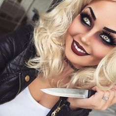 Chucky 's Braut - Halloween Make-up Costume Halloween, Creepy Halloween Makeup, Halloween Makeup Looks, Bride Of Chucky Costume, Chucky And Tiffany Costume, Bride Of Chucky Fancy Dress, Bride Of Chucky Halloween, Tiffany Bride Of Chucky, Costume Makeup