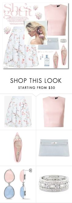 """""""She's Got It!"""" by pinkroseten ❤ liked on Polyvore featuring Ted Baker, Simone Rocha, Miu Miu, Hermès, Ice, Sole Society, Prada, Spring, pastels and floralskirt"""