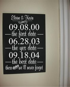 Custom Personalized Wooden sign-The first date, the yes date, the best date, plus custom names and dates