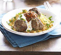Arabic Food Recipes: Moroccan lamb meatballs with harissa & couscous recipe