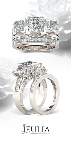 Three-stone Princess Cut 1.5CT Created White Sapphire Rhodium Plated 925 Sterling Silver Women's Ring