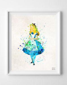 Alice, Alice in Wonderland Type 3 Print Wall Art Poster by Inkist Prints Watercolor Disney, Watercolor Artwork, Splash Watercolor, Galaxy Painting Acrylic, Alice In Wonderland Poster, Disney Art, Evil Disney, Disney Images, Disney Style