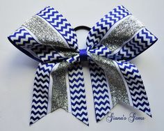 Blue Chevron and Silver Glitter Cheer Bow by GianasGems on Etsy, $10.00