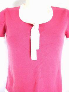 M~Pink White Trim Sailor V-Neck Knit TOP Blouse~Work~Rockabilly~Punk~Retro~Pinup