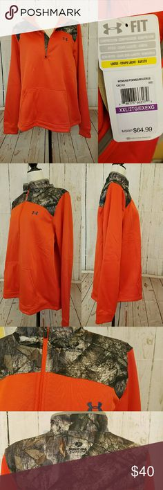 NWT under armour jacket women's 2xl mossy oak For sale is a new with tags Under Armour women's pullover jacket size 2XL. Wear this to feel warm, dry, and light. The jacket is orange with a mossy oak pattern. It has compression, loose fit and has a light fleece lining. Under Armour Jackets & Coats