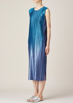 Totokaelo - Issey Miyake PLEATS PLEASE Blue Ombre Tank Dress