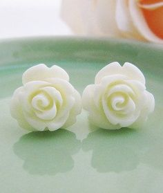 Cream White Rose Cabochon Ear Studs