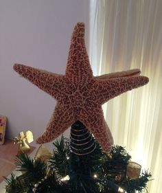merry christmas large 9 inch premium starfish tree topper nautical christmas decor - Florida Christmas Decorations