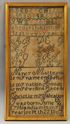 "Framed Needlework Sampler ""Nancy Matteson,"""