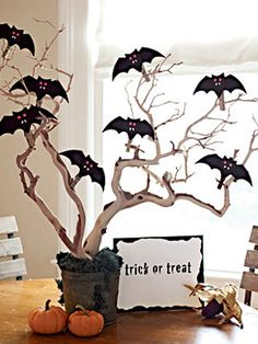 "I think I'll do this with my daughter's 5th grade class! We'll make it a Halloween countdown & attach a wrapped surprise to each bat. Then a different kid can take one bat off the tree each day and keep the ""prize."""