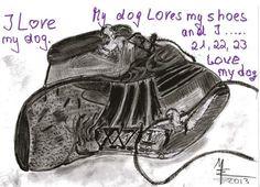 'Dogs and Shoes - my dog love my shoes' von Marion Waschk bei artflakes.com als Poster oder Kunstdruck $16.63