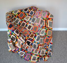 Vintage Granny Square Afghan Rainbow and by CheekyVintageCloset