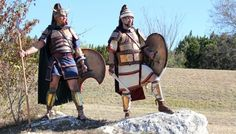 An  impressive representation  of  Late  Mycenaean  warriors  (Reenactment)