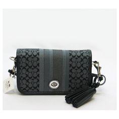 Coach Legacy Signature Stripe Penny Signature Shoulder Bag 19919 (SV/Black/Grey)