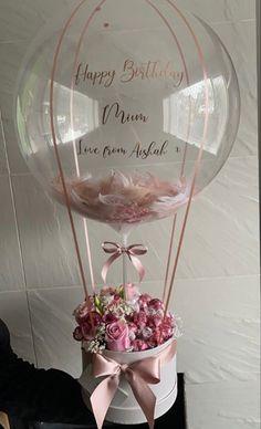 Balloon Flowers, Balloon Bouquet, Birthday Balloon Decorations, Birthday Balloons, Flower Box Gift, Flower Boxes, Bouquet Box, Balloon Gift, Custom Balloons
