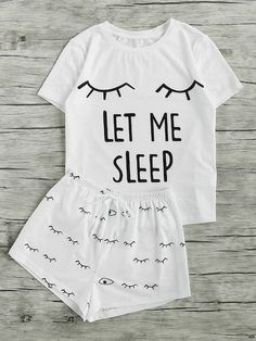 Shop Closed Eyes Print Tee And Shorts Pajama Set online. SheIn offers Closed Eyes Print Tee And Shorts Pajama Set & more to fit your fashionable needs. Cute Pyjama, Cute Pjs, Pajama Outfits, Pajama Shorts, Cute Outfits, Satin Pyjama Set, Pajama Set, Mode Kawaii, Cute Sleepwear