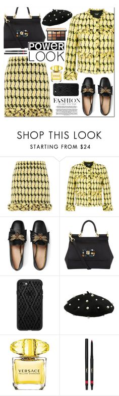"""""""Tweed"""" by alexa-girl2 on Polyvore featuring Boutique Moschino, Gucci, Dolce&Gabbana, Casetify, Versace and Yves Saint Laurent"""