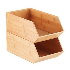 Create a clean, natural look on shelves or countertops with our Stackable Bamboo Storage Bin. Each bin has been designed with a raised base so it stacks securely, letting you customize storage for nearly any space. Whether you need to sort cutlery or linens in the kitchen, store craft and office supplies in a workroom or round up small toys anywhere in the home, this is a versatile solution that adds both style and order.