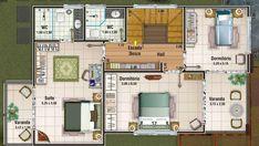 CASA# 11. Plano de casa Grande de 156M2 y 3 Dormitorios, plano de casa segundo piso
