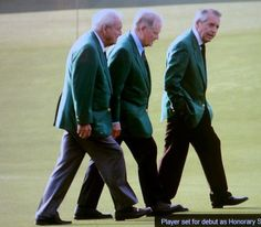 The Masters: Arnie, Jack, Gary in their green jackets.  Looks like they actually like each other.