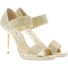 Jimmy Choo Sandals ($490) ❤ liked on Polyvore featuring shoes, sandals, gold, jimmy choo, leather sole shoes, high heel shoes, strap high heel sandals and strappy sandals