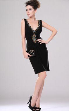 Black Sheath Knee-length V-neck Dress [Dresses 9915] - $129.00 :