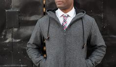 Higher Academia with a Gray Herringbone Tweed Academic Hoodie by Betabrand