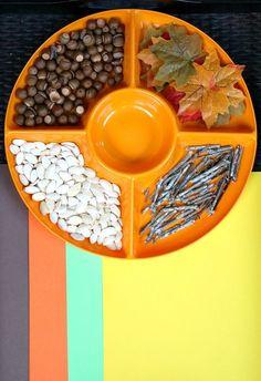 Fall Nature Collage Invitation to Create-Preschool art activity for autumn