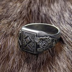 Silver ring the Power and the Glory with rune Odal. Viking Runes. Runic ring