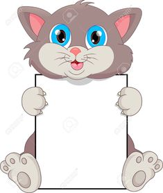 cute cat cartoon and blank sign Cow Baby Showers, Boarders And Frames, Boarder Designs, Notebook Cover Design, Animal Templates, Mickey Mouse Art, Blank Sign, School Frame, Cute Wallpapers