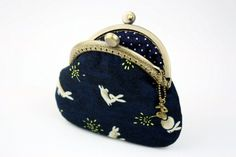 Chasing Rabbit and the Taraxacum Cotton Fabric Purse in Indigo with Metal Frame by CottonTimes $17.90