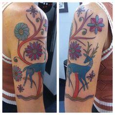 folksy deer tattoo