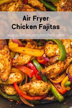 Super easy and flavorful chicken fajitas made quickly in the Air Fryer! The chicken is succulent and bursting with flavor and the peppers and onions are crunchy and delicious. A great dinner for busy mid-week nights! Chicken Thigh Recipes Oven, Baked Chicken Recipes, Healthy Chicken, Oven Chicken, Recipe Chicken, Air Fryer Dinner Recipes, Air Fryer Recipes Easy, Air Fryer Recipes Mexican, Chicken Peppers And Onions